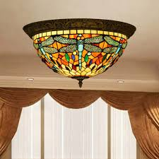 stained glass ceiling light fixtures vintage tiffany style stained glass dragonfly ceiling l fixture