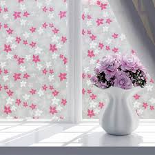 floral static cling stained glass door window film sticker privacy