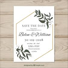 wedding card to wedding card with modern leaves vector free