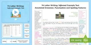 year 4 letter writing informal model example text example