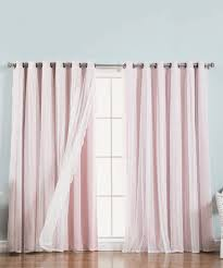 Light Pink Blackout Curtains Curtain Light Pink Dotted Tulle Lace Blackout Curtain Panel Set