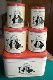 set of 4 vintage red gingham bow tin kitchen canisters ribbon farm