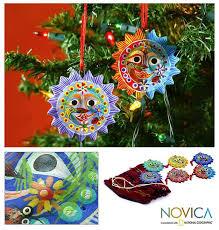 handmade set of 6 ceramic lord of the sun ornaments guatemala
