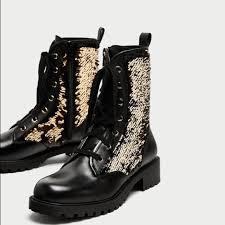 moto boots sale zara shoes sale genuine leather sequin combat moto boots poshmark