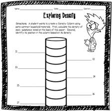 exploring density worksheet by adventures in science tpt