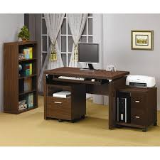 Simple Wooden Office Table Furniture Light Brown Maple Wood Mobile Computer Table With