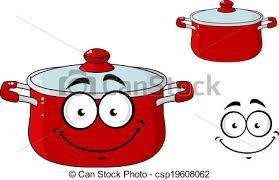 couvercle peu cuisine casserole dessin animé rouges clip