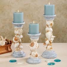 seaside trophy candleholder set powder blue set of three seashell