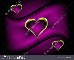 Deep Purple Color Purple And Gold Hearts Valentines Background