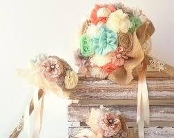 Shabby Chic Bridal Bouquet by Coral Burlap Bouquet Etsy