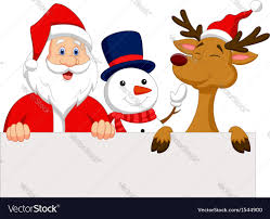 cartoon santa claus reindeer snowman bla vector image