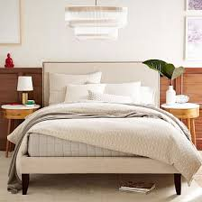 Linen Bed Frame Nailhead Upholstered Headboard Bedrooms And Master