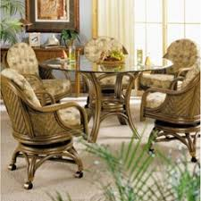 Glass Top Rattan Dining Sets WCaster Chairs - Rattan dining room set