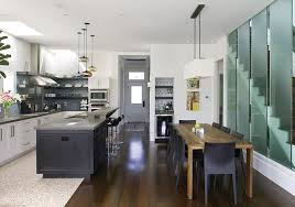 White Kitchen Cabinets With Black Island by Kitchen Good Looking Long Kitchen Design With Brown Wooden