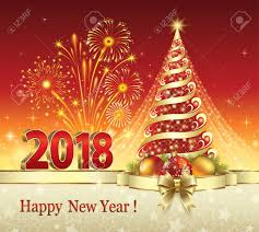 happy new year post card postcard happy new year 2018 with a christmas tree royalty free