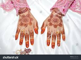 henna on hands indonesian wedding bride stock photo 199831265