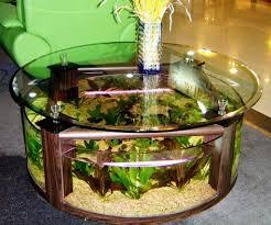 model meja ruang tamu aquarium unik desain minimalis