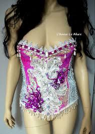 pink scale corset mermaid bra cosplay dance costume rave bra rave