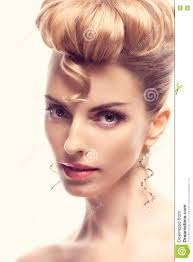 fashion natural makeup woman with mohawk hairstyle stock photo