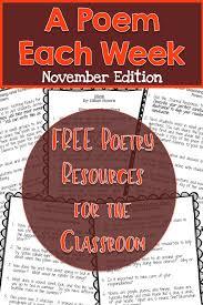 november a poem each week poetry resources for november