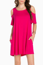 sweet pea cold shoulder fuschia dress from oklahoma by simply