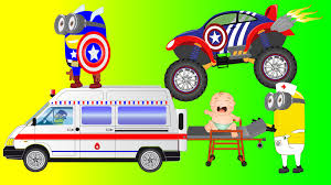 bigfoot presents meteor and the mighty monster trucks ambulance cartoon for children vs superman monster trucks for kids
