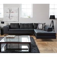 Black Leather Corner Sofa Vienna Leather Right Corner Sofa Black Dwell