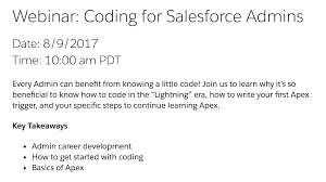 join my webinar coding for admins salesforce coding lessons