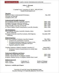 Sample Performance Resume by Sample Music Resume 7 Examples In Word Pdf