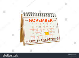 happy thanksgiving november 2020 calendar isolated stock photo
