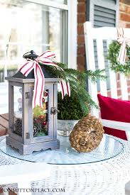 Christmas Decoration For Front Of House by Christmas Porch Decor Red Ribbon U0026 Pine On Sutton Place