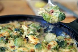thanksgiving side dish brussels sprouts and bacon gratin