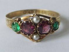 georgian 15kt emerald amethyst u0026 pearl cluster ring antiques