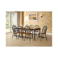 9 piece dining room set table leaf 8 windsor chairs kitchen