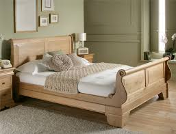 Double Bad Design Furniture Creamy Brown Wooden Bed With Wooden Headboard And White Sheet