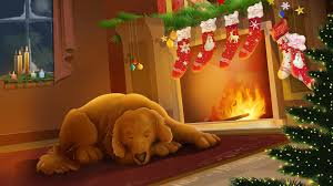 dog sleeping next to the decorated fireplace 401542 walldevil