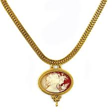 cameo gold necklace images Gold tone cameo necklace the getty store jpg