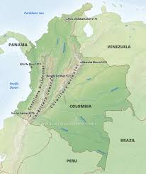 Map Of Eastern Caribbean by Colombia Physical Map