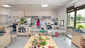 preschool kitchen furniture interior view of preschool classroom and kitchen stock photo