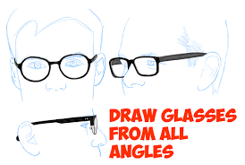 how to draw glasses on a person u0027s face from all angles side