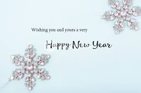 new year jewelry happy new year background with snowflake ornaments on pale blue