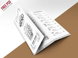 vintage style bar menu trifold brochure psd template psdfreebies com