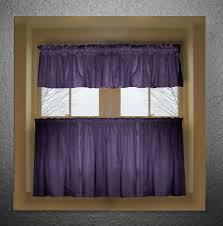 Purple Valances For Windows Ideas Purple Color Tier Kitchen Curtain Two Panel Set
