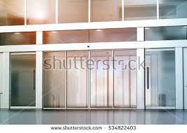 floor to ceiling glass doors blank sliding glass doors entrance mockup stock illustration