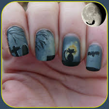 spooky halloween nail art black cat in the moonlight pointless cafe