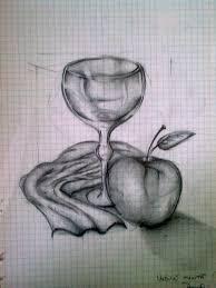 dead nature sketch apple glass cloth sketchlovers