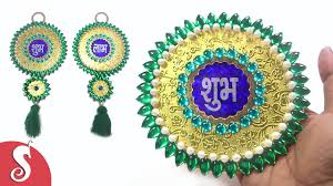 shubh labh wall hanging design from waste cds dvds sonali u0027s
