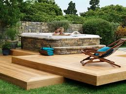 Small Backyard Deck Ideas Backyard Hot Tub Designs Home Outdoor Decoration