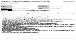 Document Controller Resume Sample by Group Leader Printed Circuit Board Quality Control Resume Sample