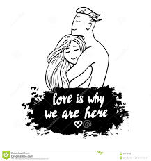 Valentine Day Quote Couple Hugging Handdrawn Vector Valentine U0027s Day Quote About Love